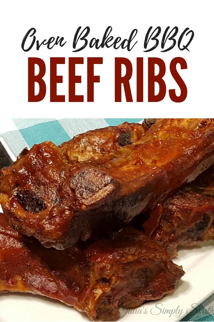 Easy oven baked beef ribs with barbecue are succulent and tender #beef #shortribs #BBQ #SouthernFood