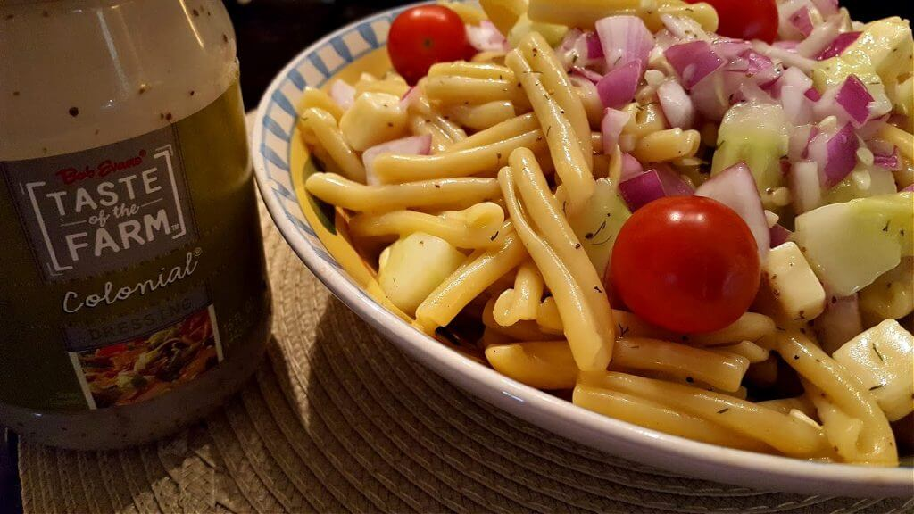 colonial pasta salad recipe made with salad dressing