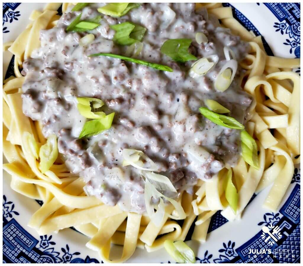Blue and White china plate with a serving of noodles topped with hamburger gravy
