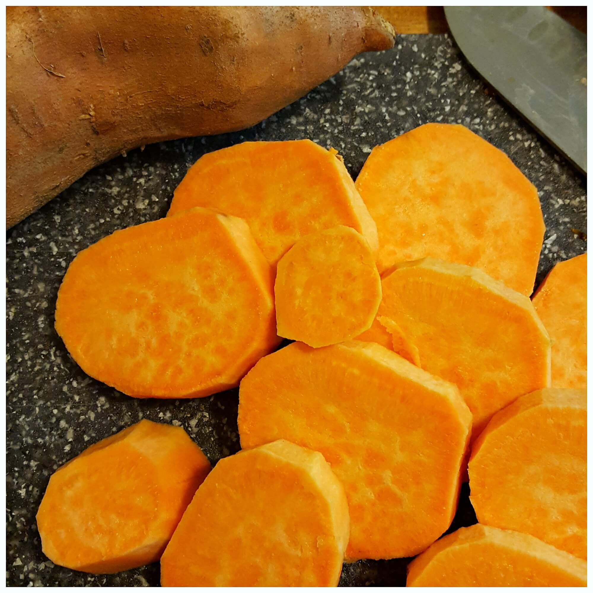 Easy Candied Yams - peeling and slicing sweet potatoes for this holiday side dish