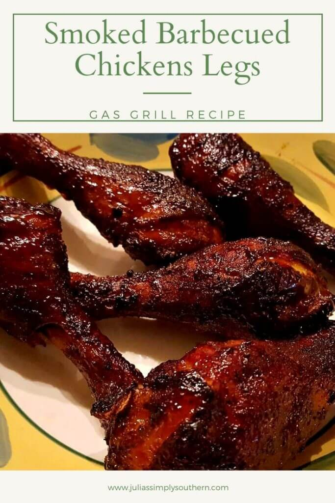 smoked barbecue chicken legs - on the grill in a serving bowl
