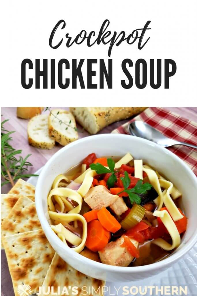 How to make Crockpot chicken soup? This delicious hearty slow cooker chicken noodle soup is comfort food at its best and so easy to prepare. Just prep the ingredients and allow the slow cooker to slow simmer all day for rich delicious flavor. Add cooked noodles for a complete meal. #soup #crockpot #slowcooker #chickensoup #chickennoodlesoup #familydinners