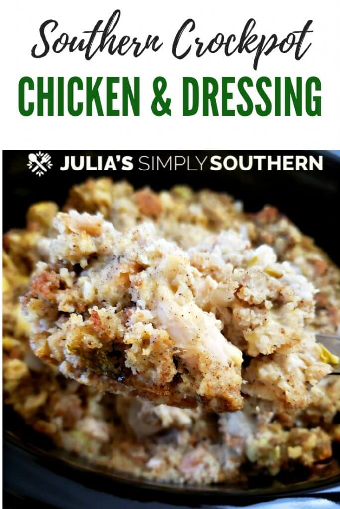 Pinterest Crock Pot Chicken and Dressing Recipe. This easy slow cooker meal is super simple for weeknight family dinners and perfect for stress free holiday cooking. Delicious chunks of chicken with a traditional style Southern cornbread dressing is a pure comfort food meal. #crockpotdressing #slowcookerstuffing #chickenanddressing #easyrecipes #chickenrecipes #crockpotcasserole