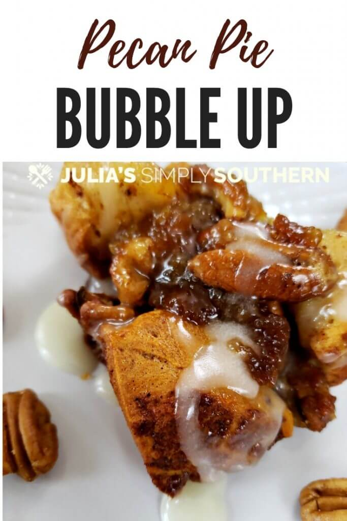 Pinterest desserts for a crowd. This pecan pie bubble up has all of the classic flavors of pecan pie with a fun twist baked with cinnamon roll dough that bubbles up as it bakes. This delicious pecan dessert is easy to prepare and perfect for holiday gatherings. #PecanPieBubbleUp #desserts #Holiday #SouthernRecipes #dessertswithnuts