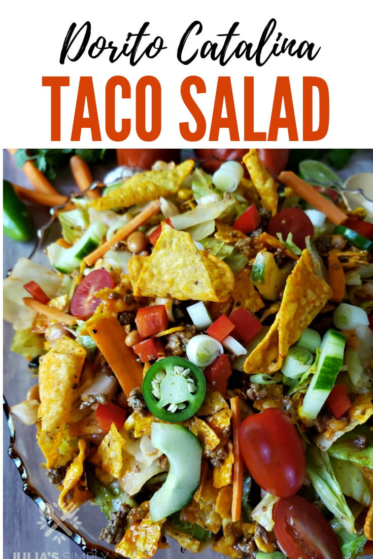 Dorito taco salad with Catalina dressing is a potluck favorite. Take this amazing taco salad to you next gathering and watch it disappear. Taco salad is also a classic side or family meal to enjoy any time or on Taco Tuesday or Cinco de Mayo #GroundBeef #TacoSalad #DoritoTacoSalad #CatalinaTacoSalad #EasyRecipe #Recipeoftheday #potluckrecipes #groundbeef #vegetables #sidedish