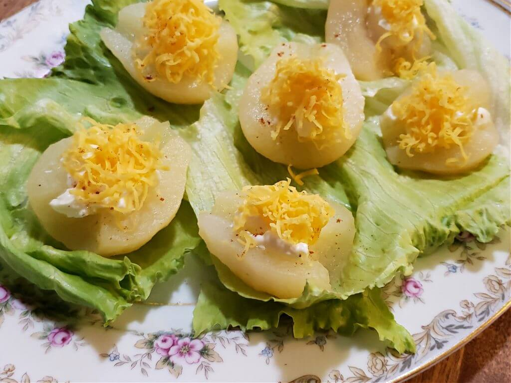 Serving platter with pear salad Southern style