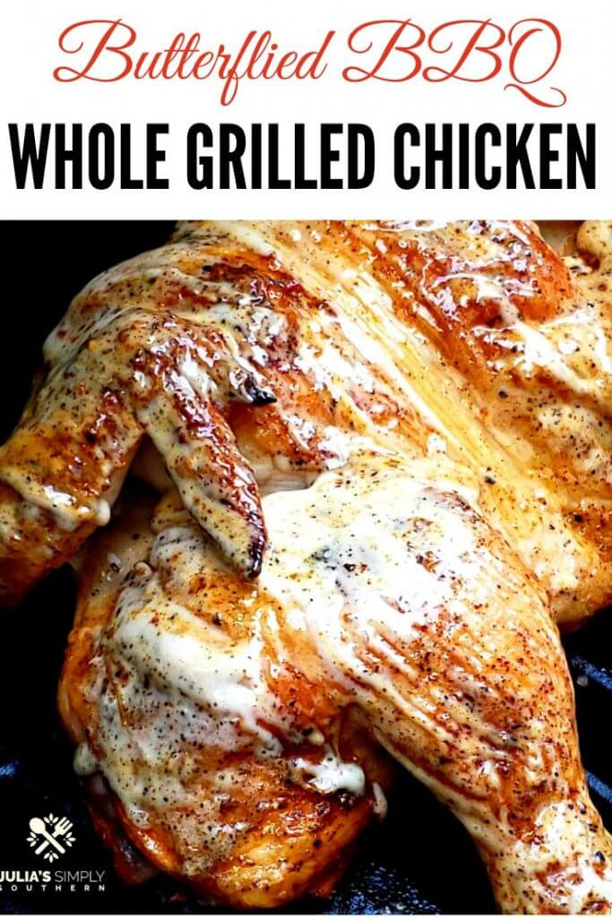Pinterest image for a grilled whole chicken recipe spatchcock style with barbecue sauce