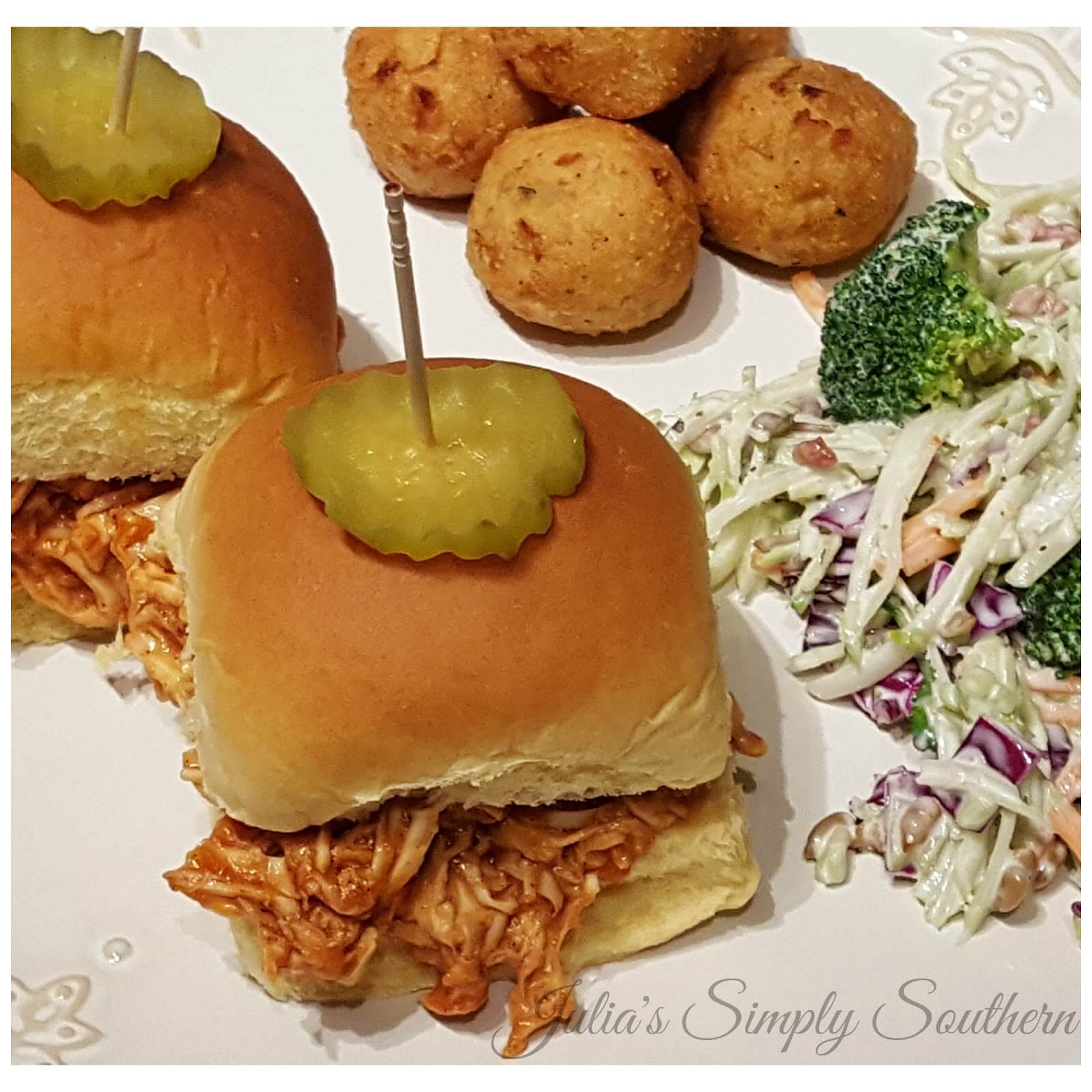 BBQ Chicken Sliders served with slaw and hush puppies