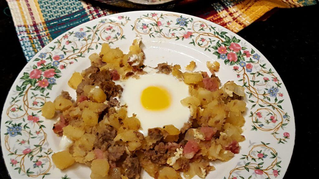 Plate with a serving of breakfast hash