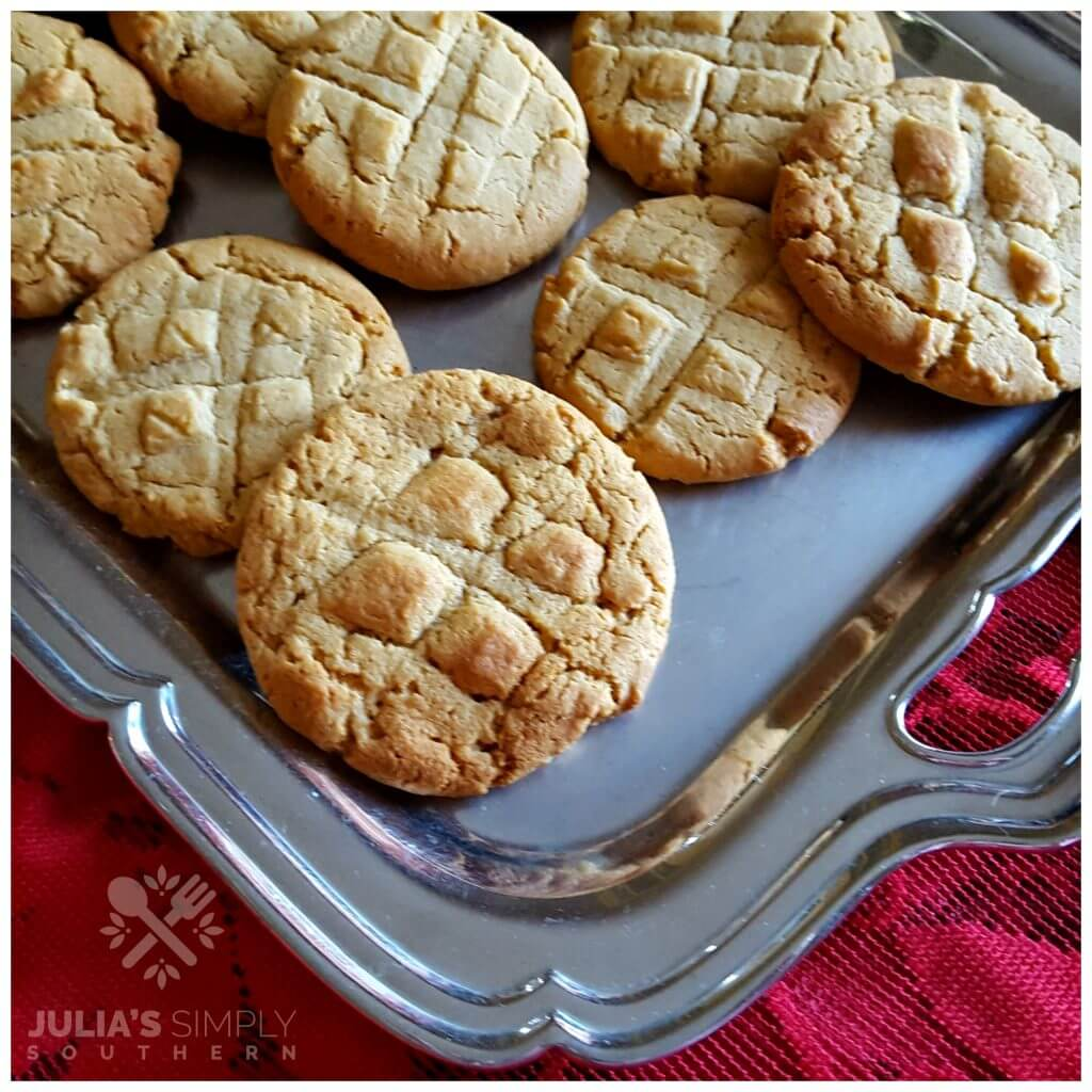 Fresh baked peanut butter cookies on a serving platter for the holidays