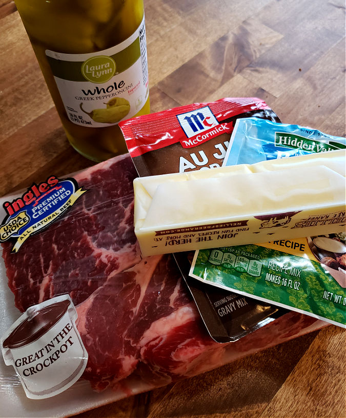 Ingredients needed to make a Mississippi pot roast