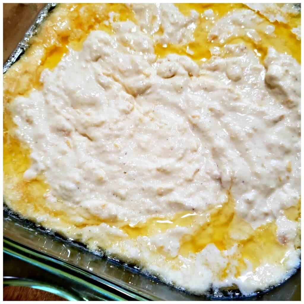 Cornbread batter in a buttery baking dish
