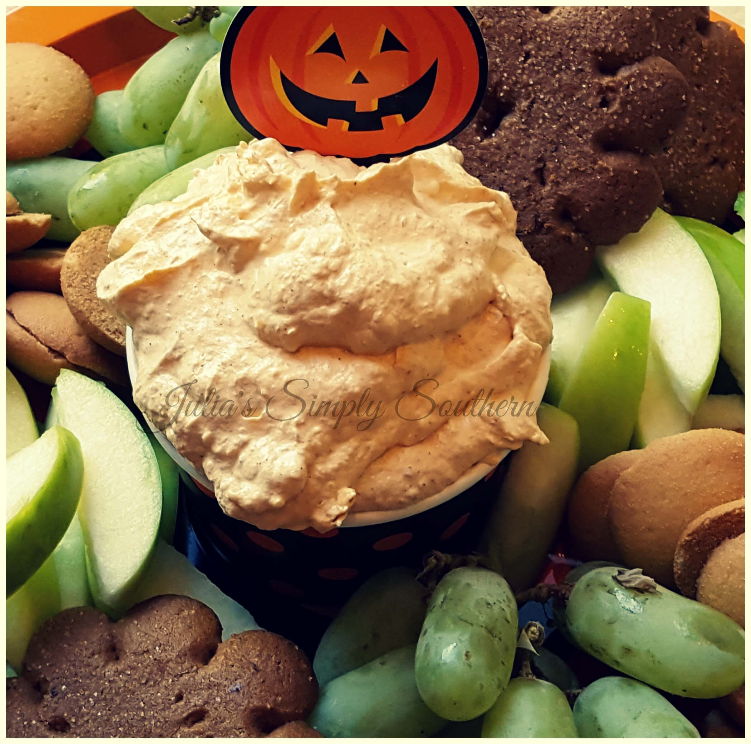 pumpkin fluff party dip with fruit tray