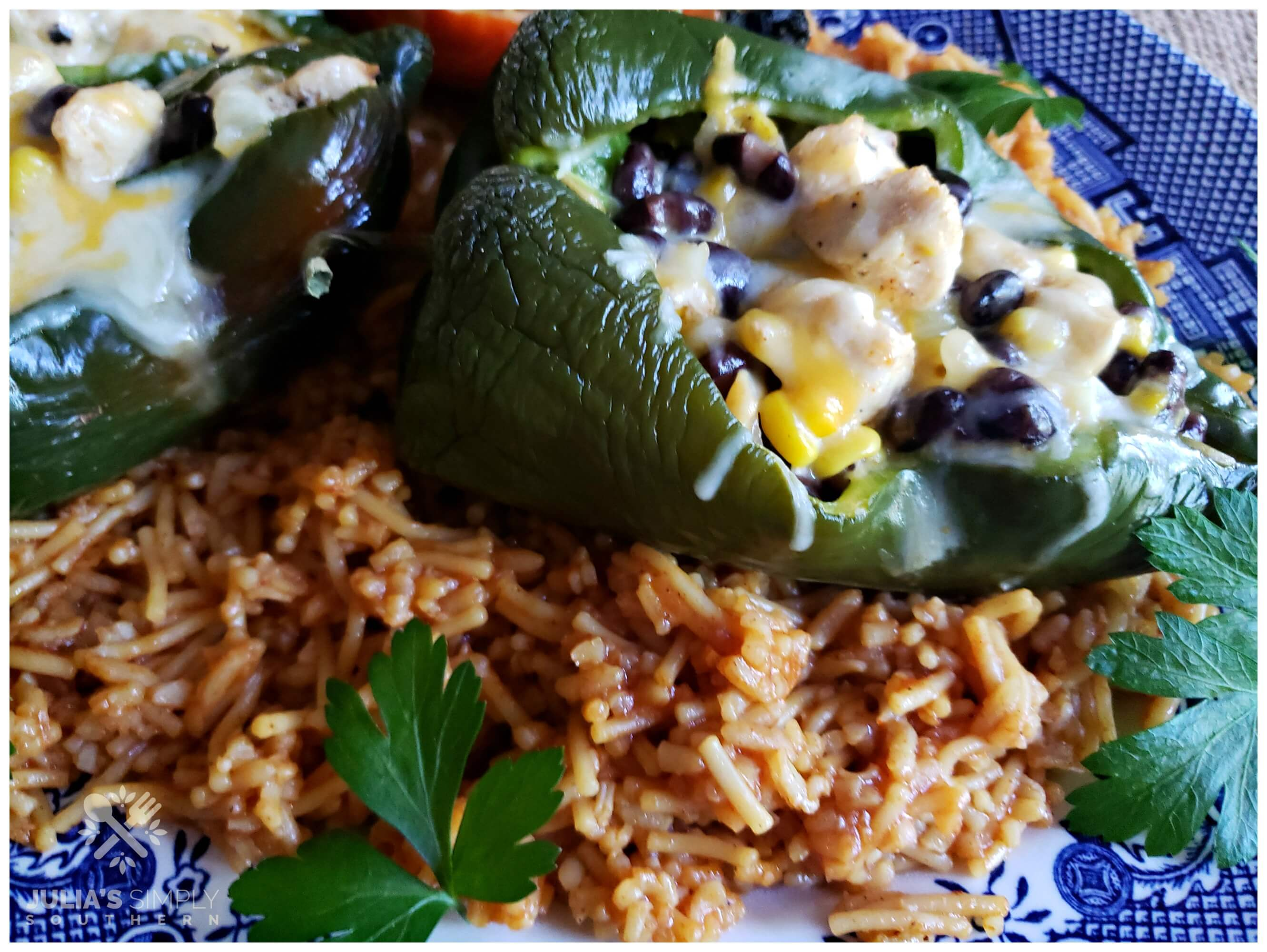 Spanish rice with stuffed poblano peppers are a delicious Southwestern style meal