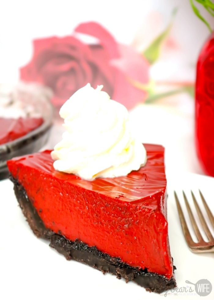 Valentine's Day Red Velvet Cream Pie with whipped cream featured at Meal Plan Monday 250