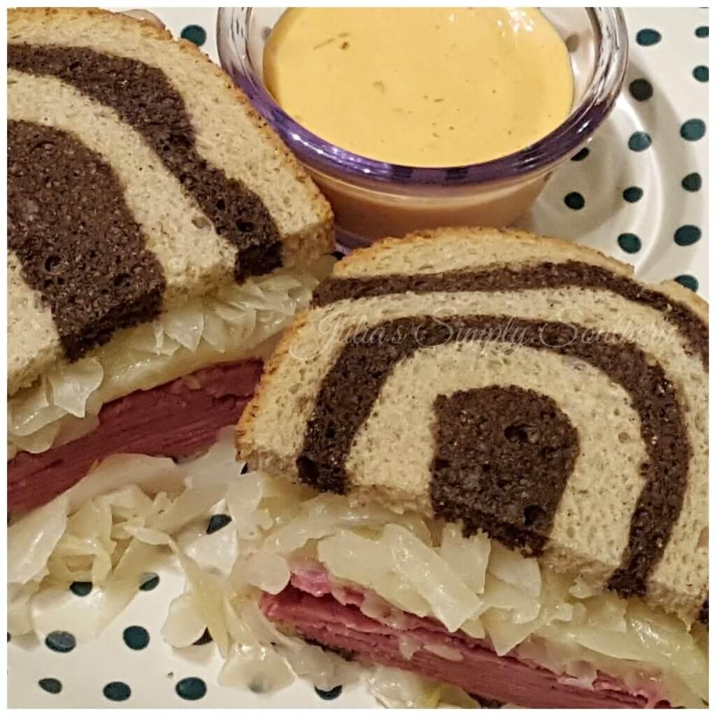 Classic Rueben Sandwich with homemade sauerkraut