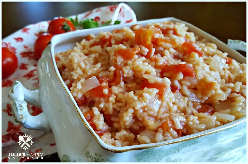 Side dish of old fashioned Southern Tomatoes and Rice in a vintage serving dish