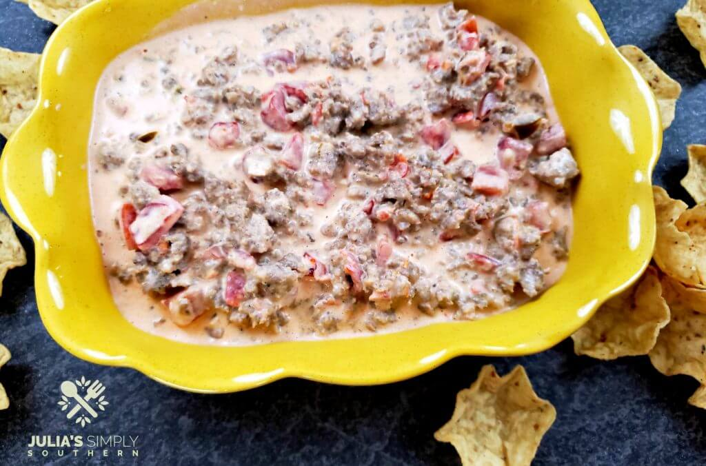 Hot breakfast sausage cream cheese dip with Rotel for parties