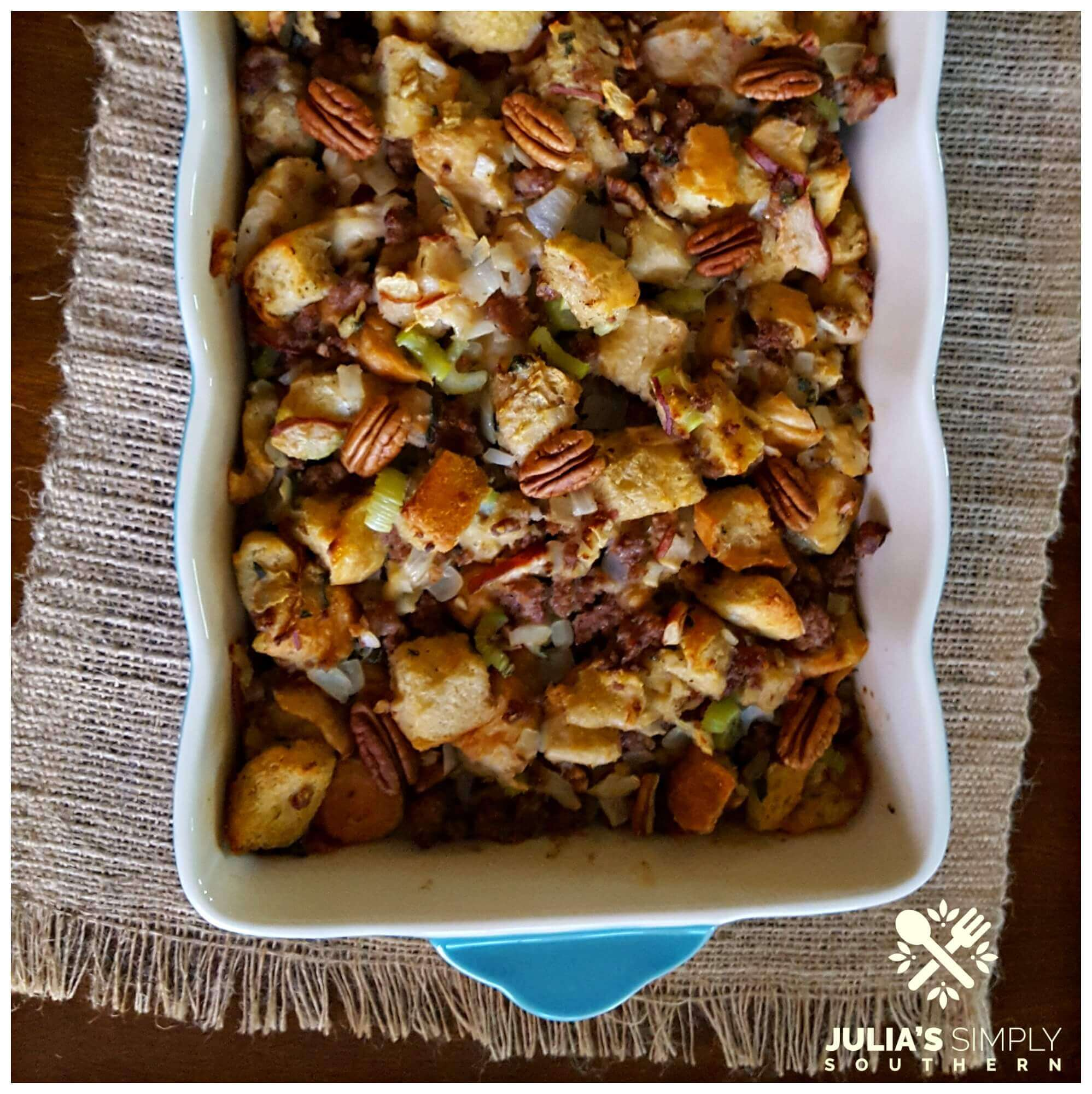Sausage Pear Stuffing for the holidays in a casserole dish