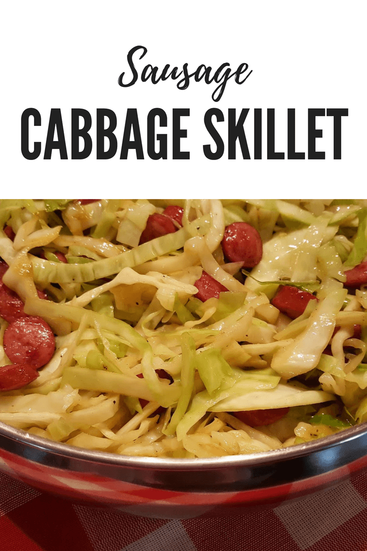 Smoked Sausage and Pan Fried Cabbage Skillet Dinner #LowCarb #easyrecipe