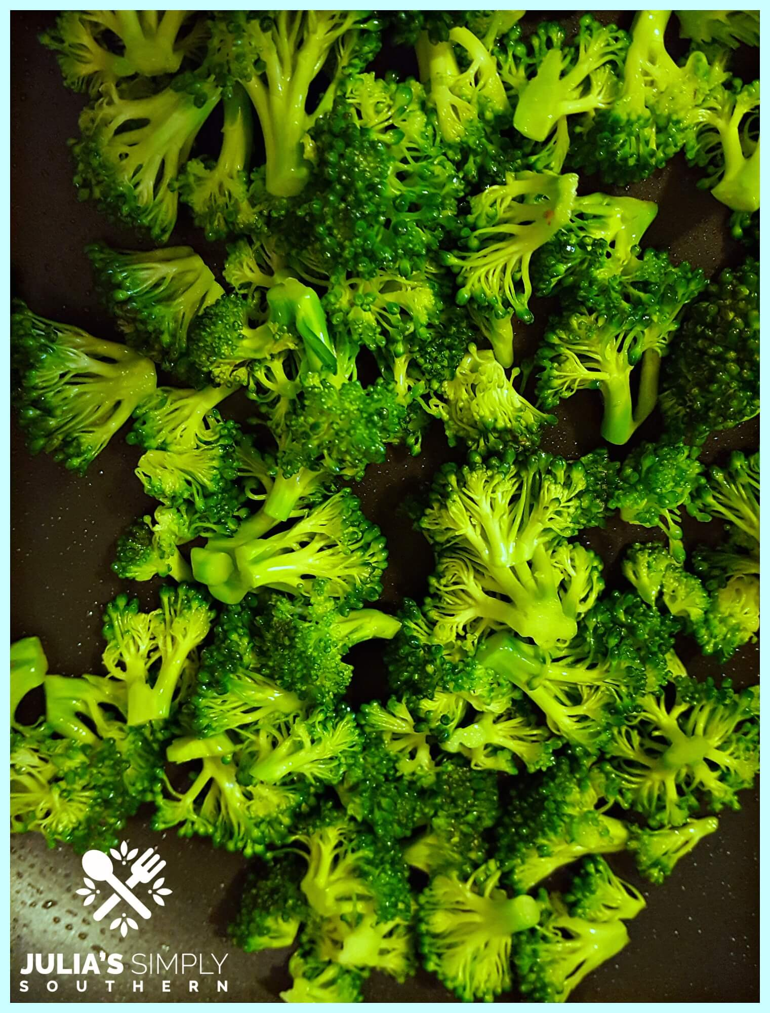 preparing broccoli to use in a quiche