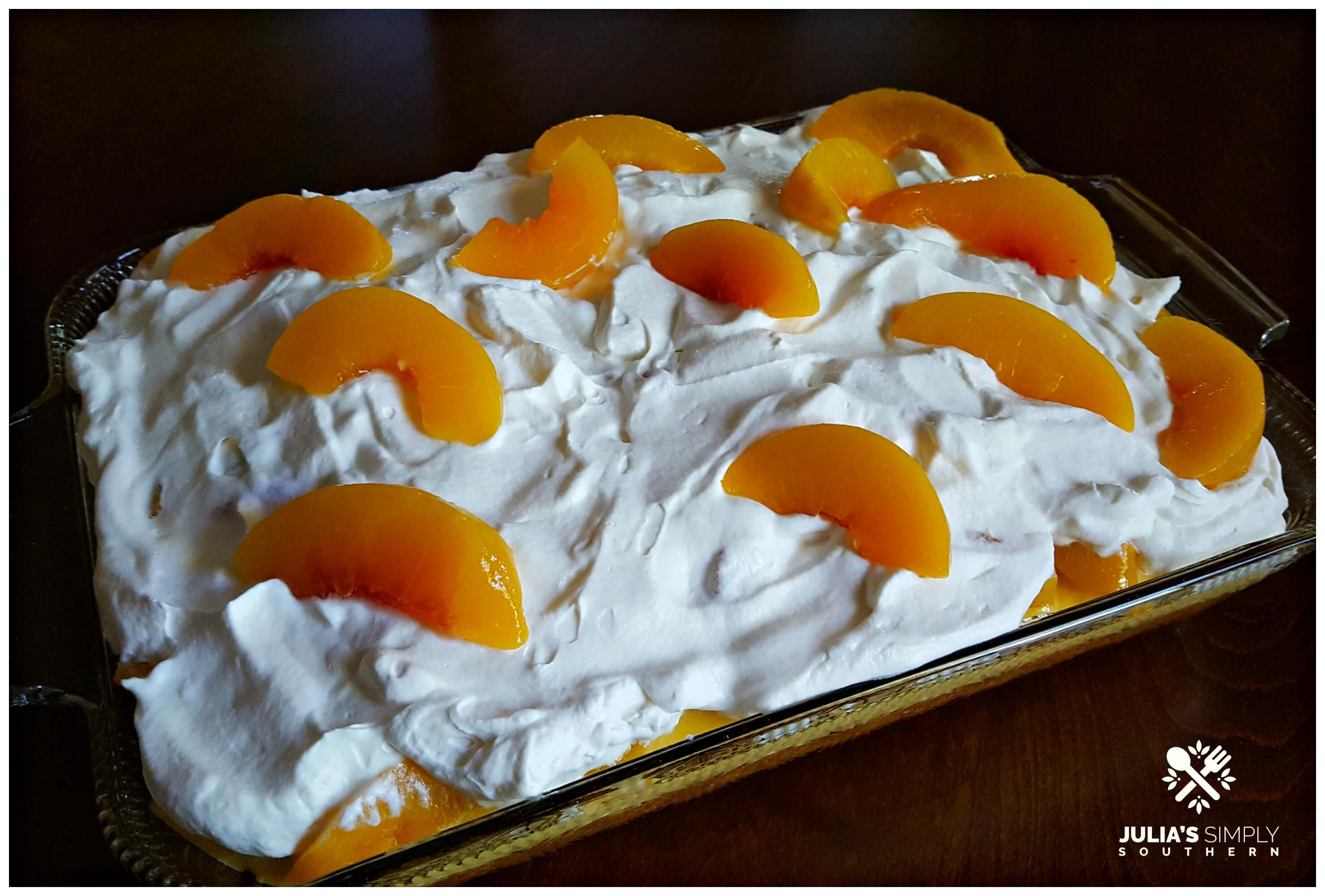 Peaches and Cream Poke Cake Dessert