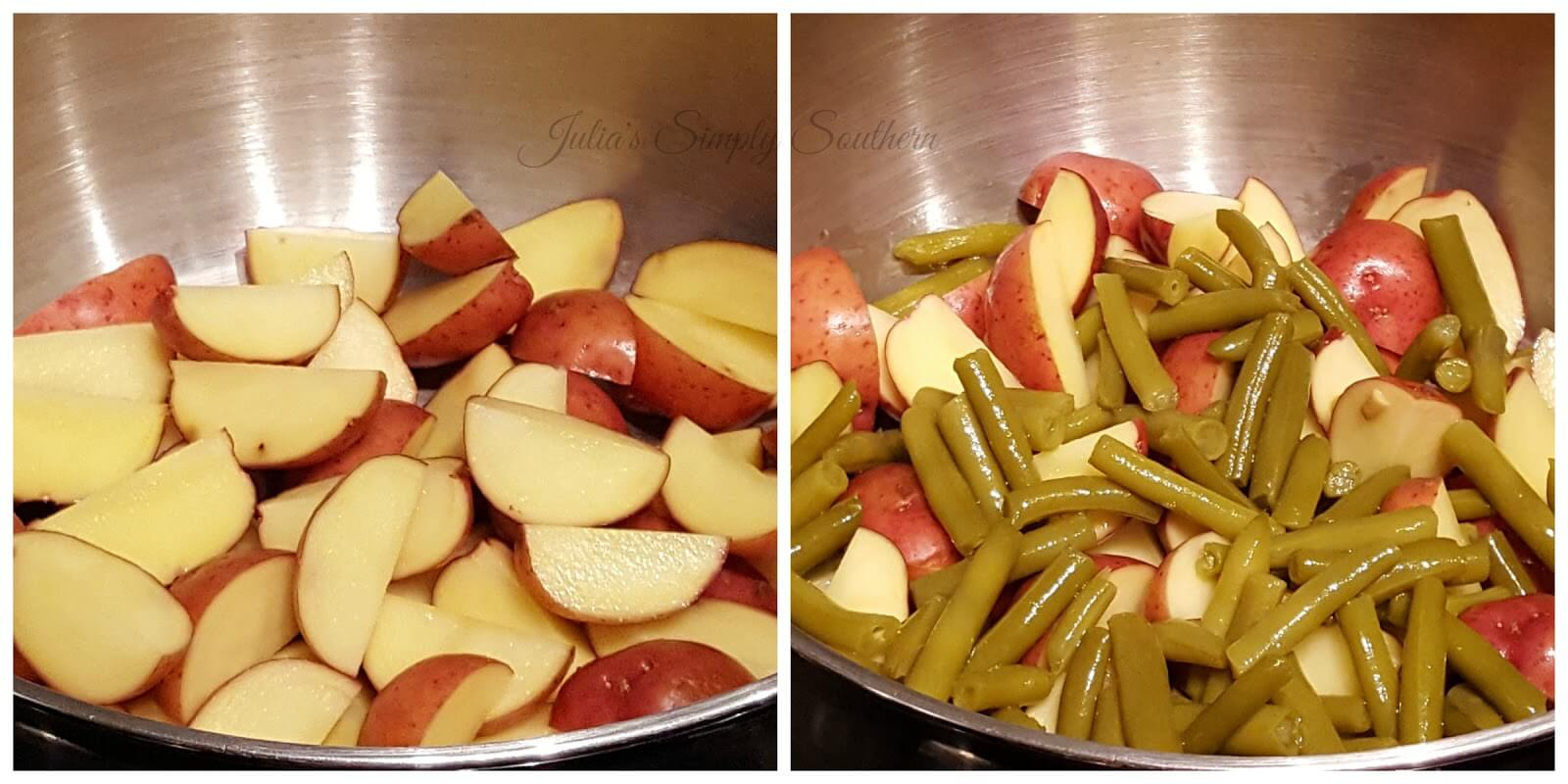 Quick and easy side dish recipe with green beans and baby red potatoes