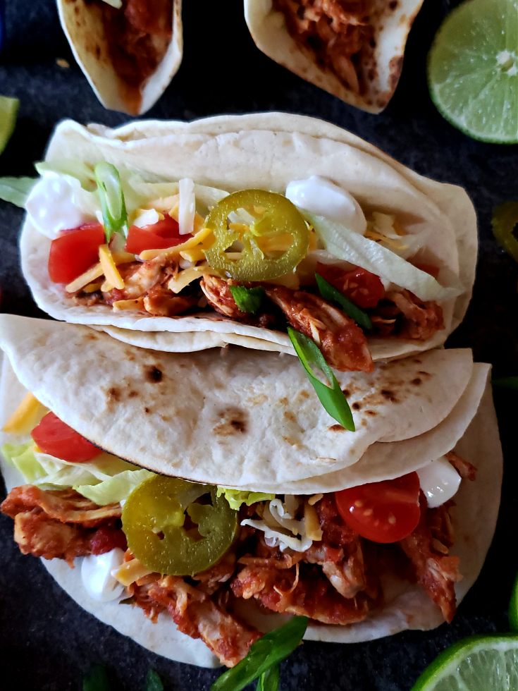 Shredded Mexican Chicken Soft Tacos