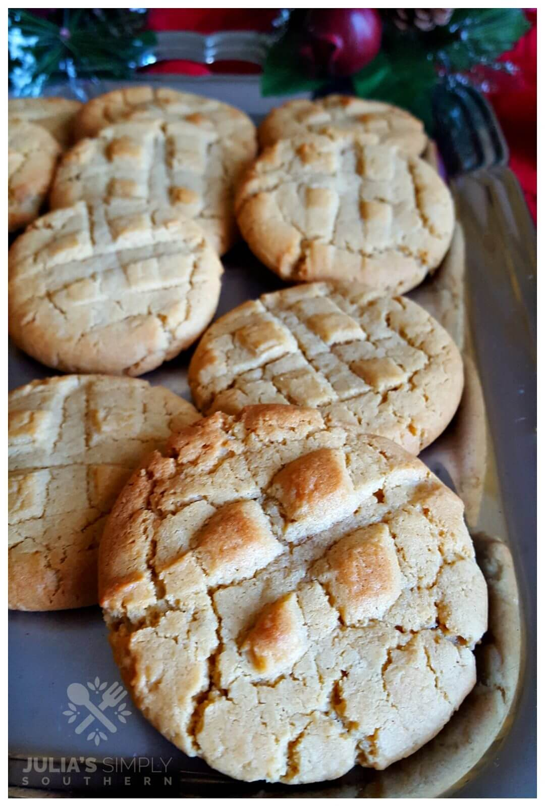 Fresh baked cookies on a platter for the holidays - Julia's Simply Southern food blog