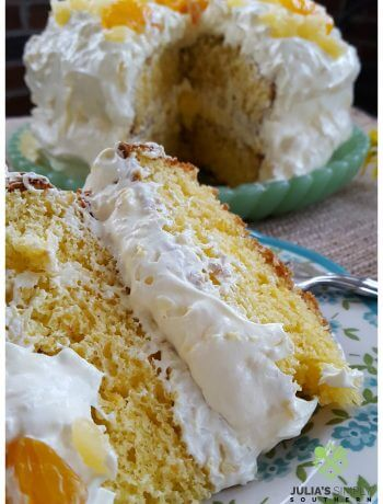 Mandarin Orange Pig Pickin Cake with Pineapple Whipped Frosting