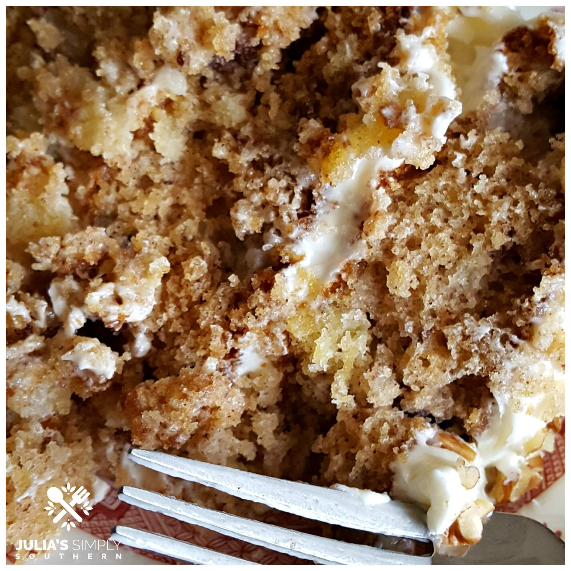 Slice of Hummingbird Cake and Silver Fork