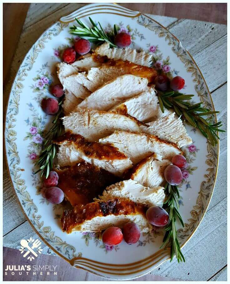 Platter of sliced grilled turkey breast for a small and easy dinner