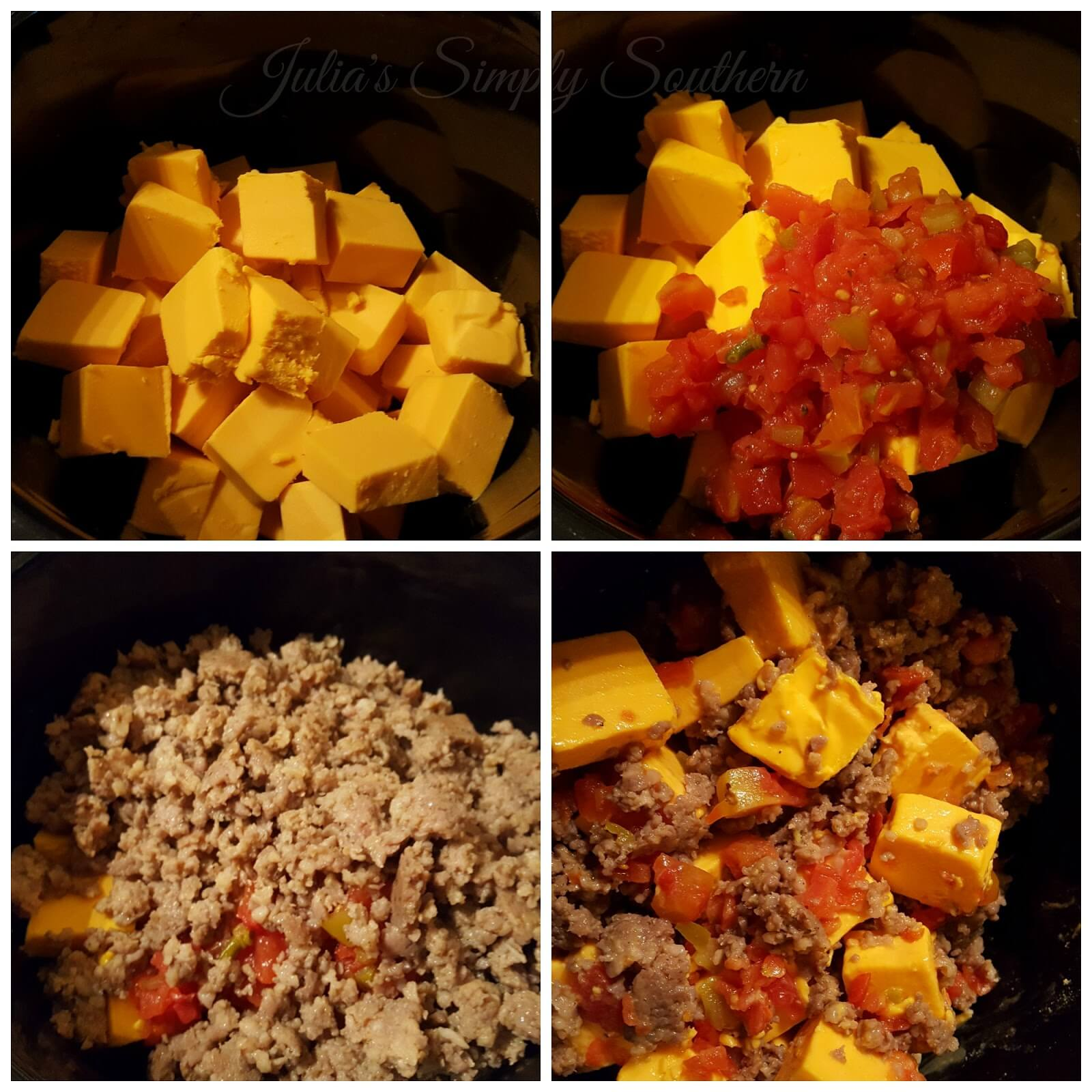 How to make Sausage queso dip with Rotel in the slow cooker
