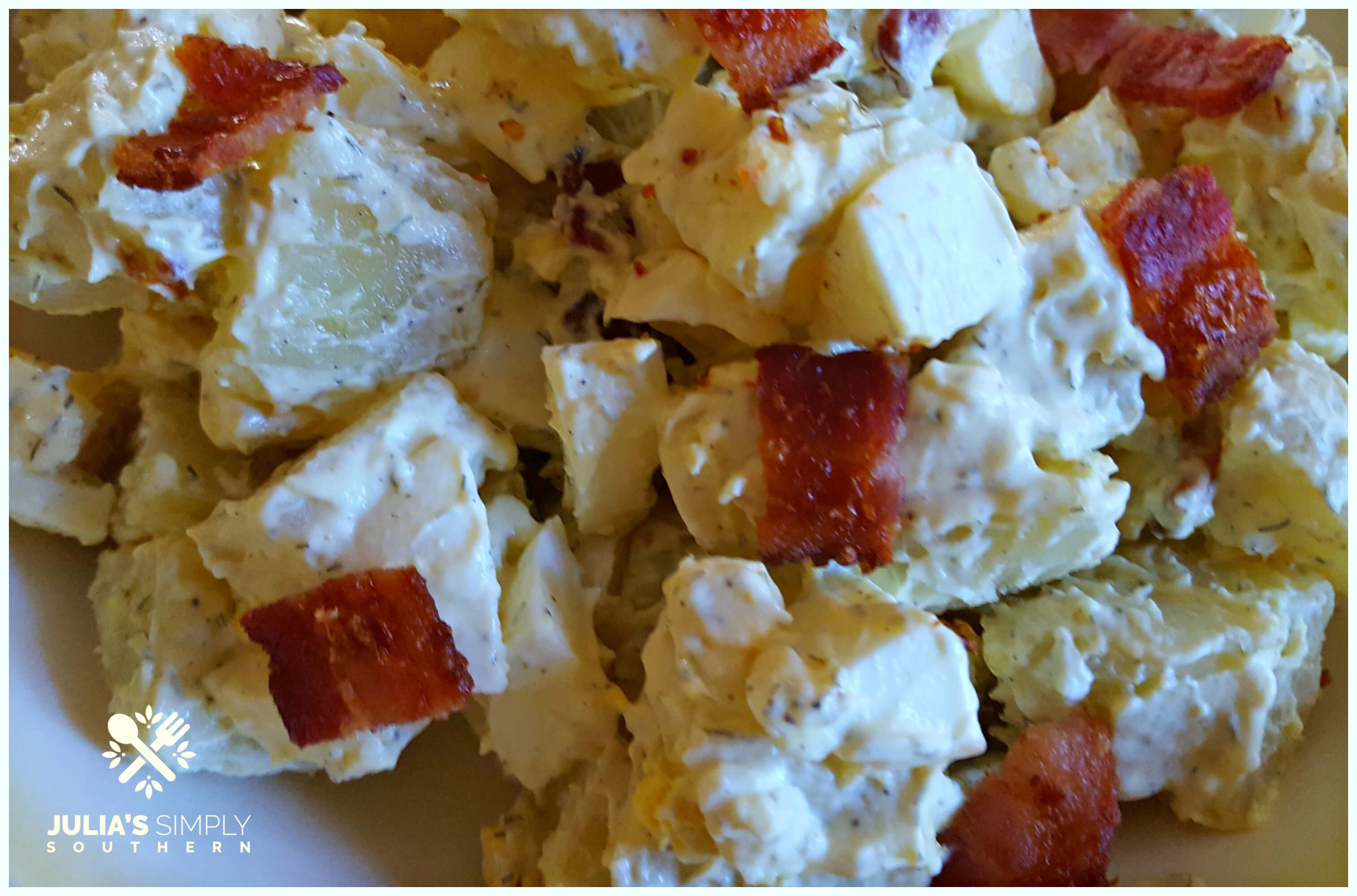 Southern Mustard Potato salad with dill and bacon