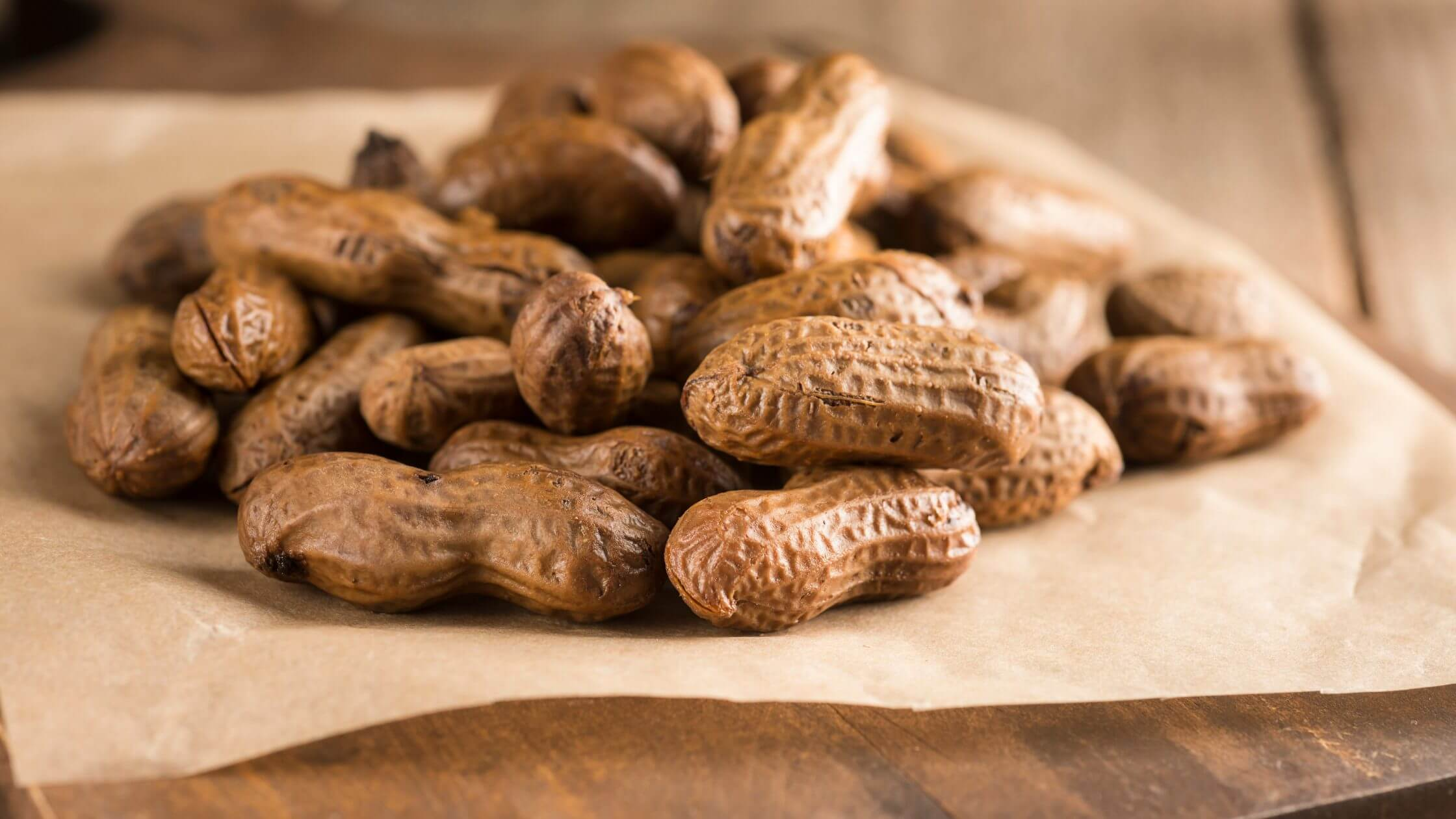 Southern boiled peanuts on a sheet of parchment