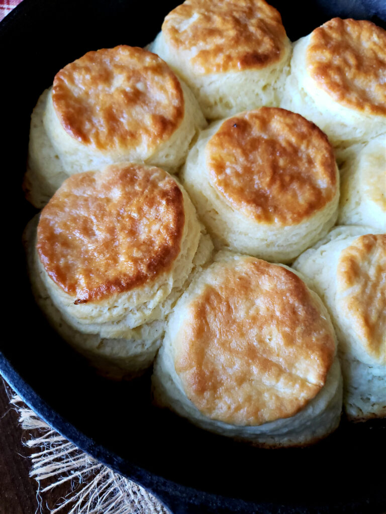 iron skillet of baked biscuits