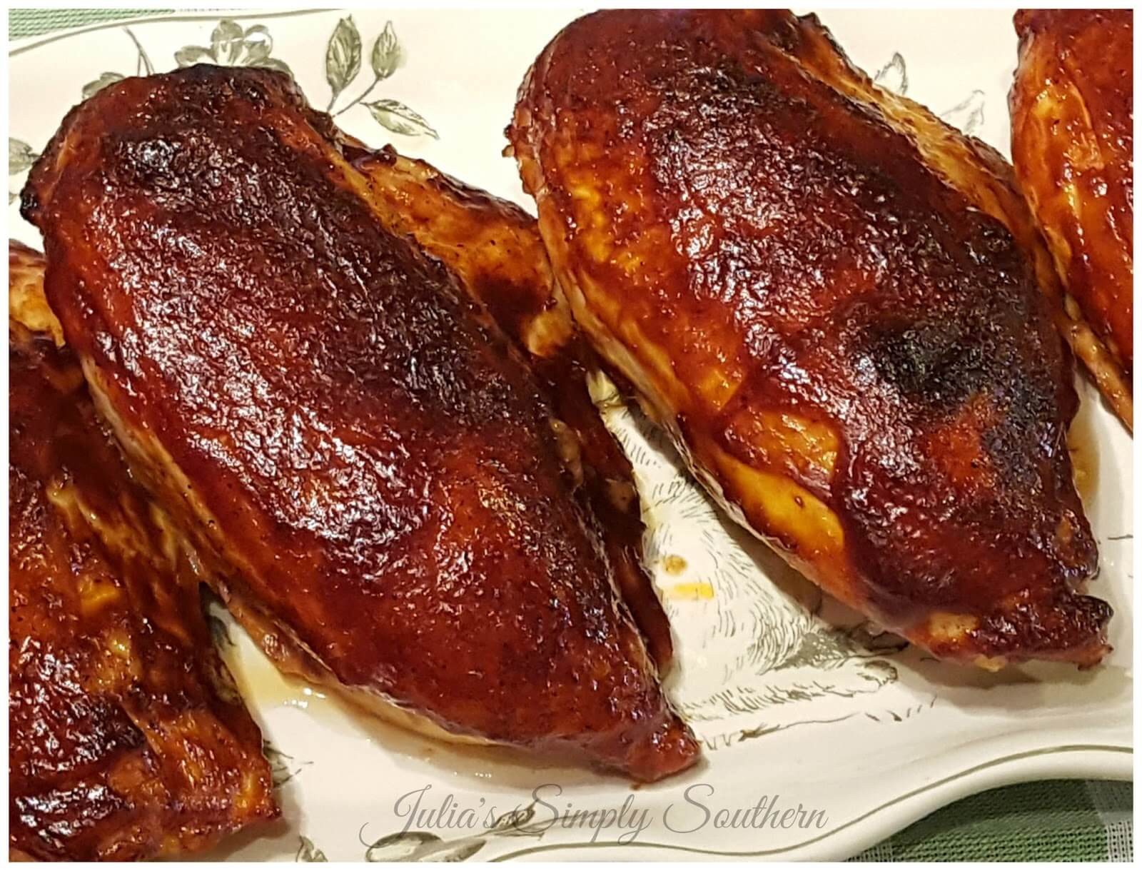 Southern Baked Barbecue Chicken Breast on a serving platter