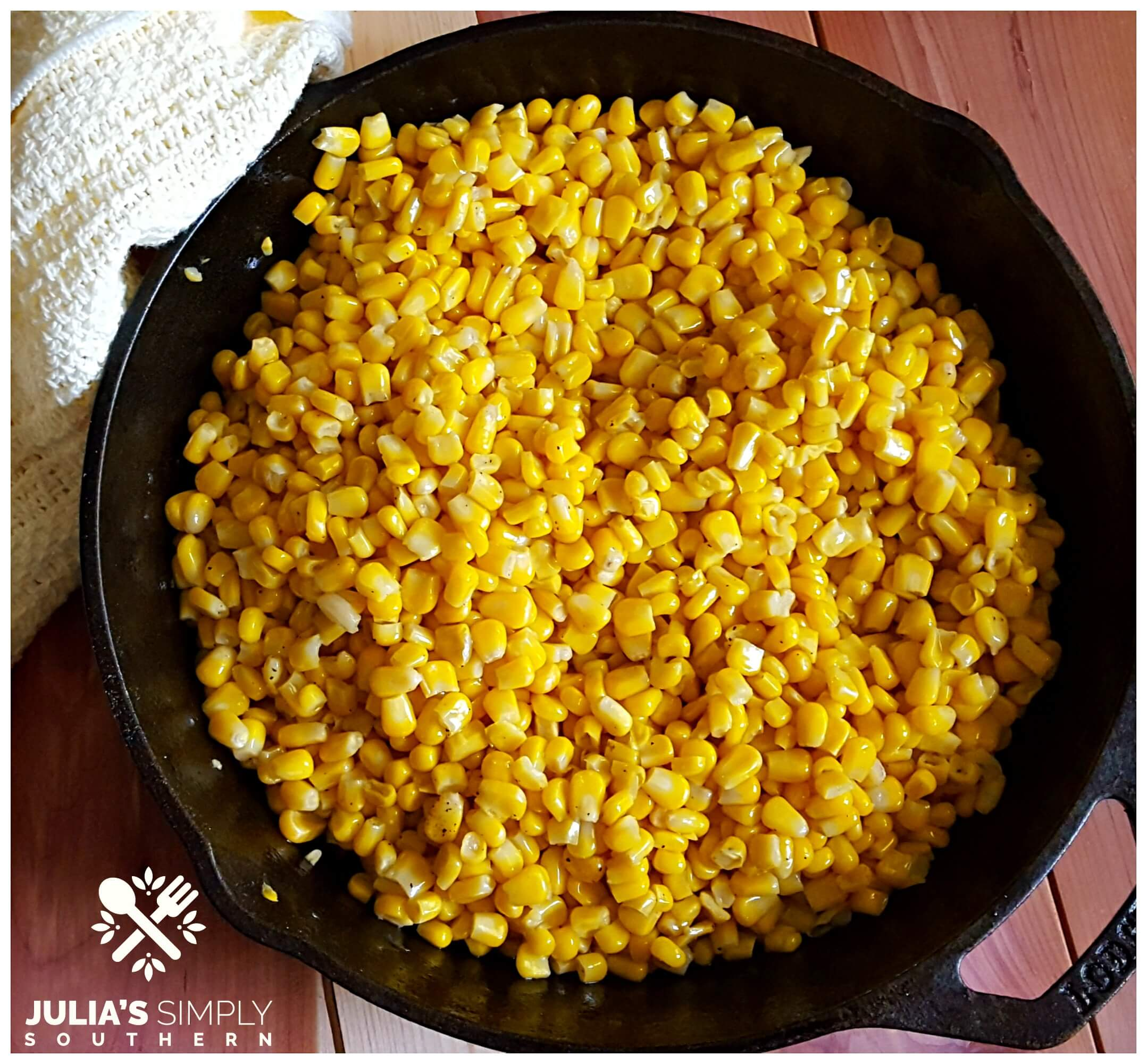 Southern fried corn in a cast iron skillet