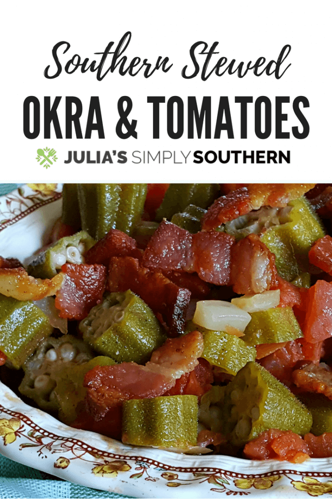 Southern Stewed Okra and Tomatoes Recipe #vegetable #summer #tomatoes #delicious
