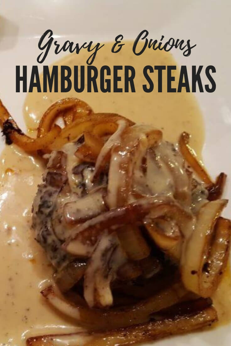 Southern Style Hamburger Steaks with onions and gravy, also lovingly known as poor man's steak. This classic meal is a budget friendly favorite #groundbeef #easymeals #familydinner #budgetmeals