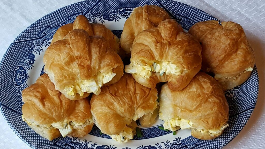 Egg salad on a croissant
