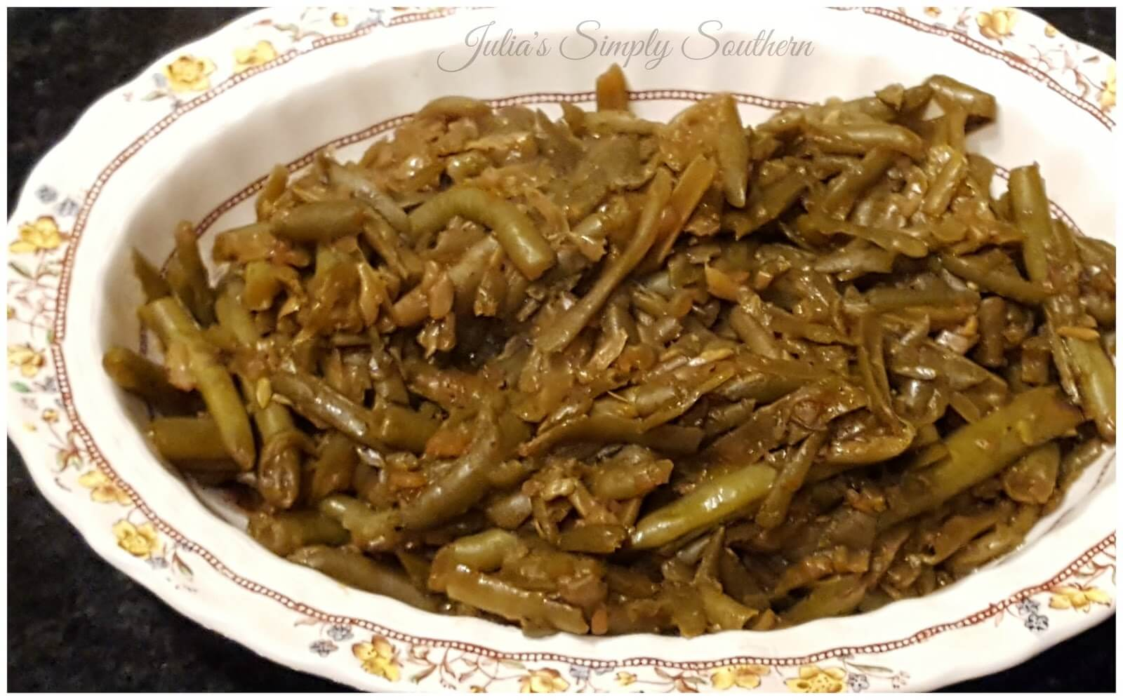 Side Dish of Soy Sauce Glazed Green Beans in a vintage serving dish