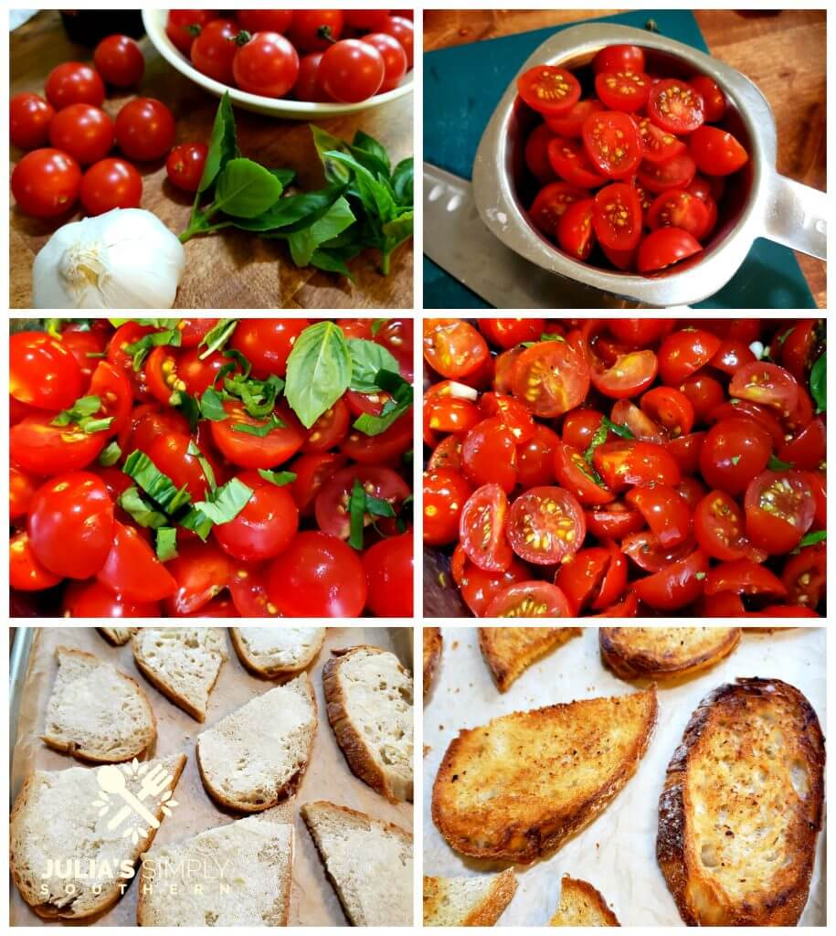 Steps for preparing bruschetta