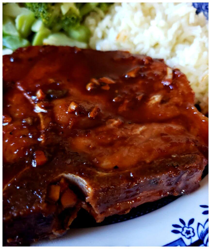 Delicious sticky pork chops