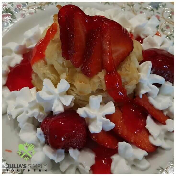 Strawberry Tarts in puff pastry shells