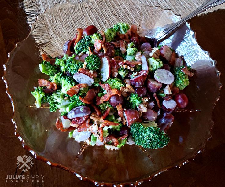 crunchy veggie salad in a glass dish