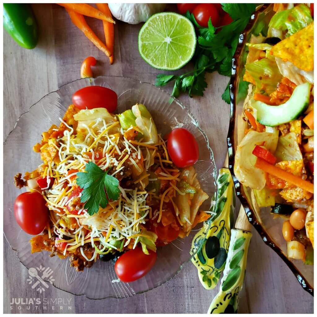 Serving of taco salad