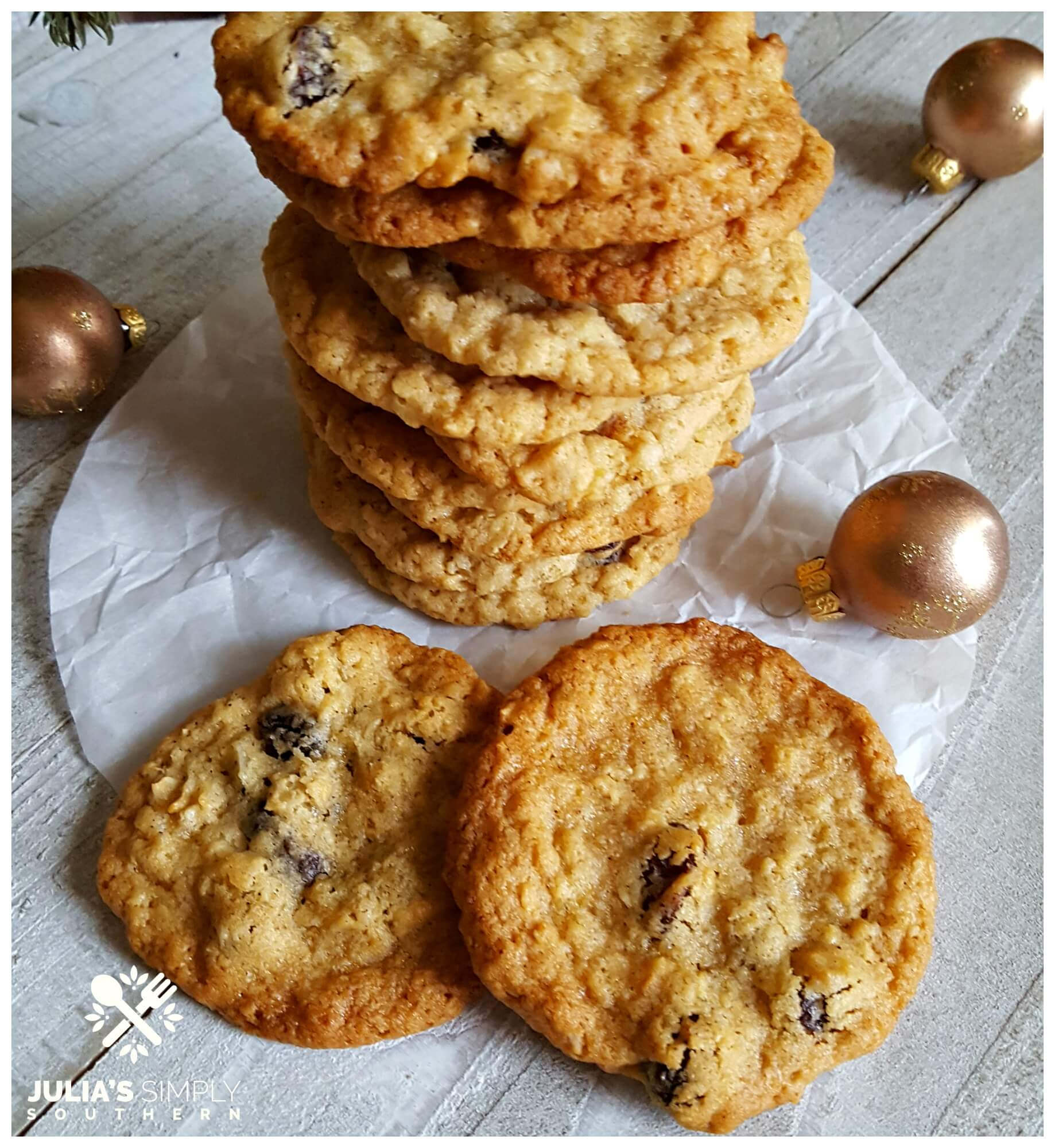 Old Fashioned oatmeal raising cookies - holiday baking