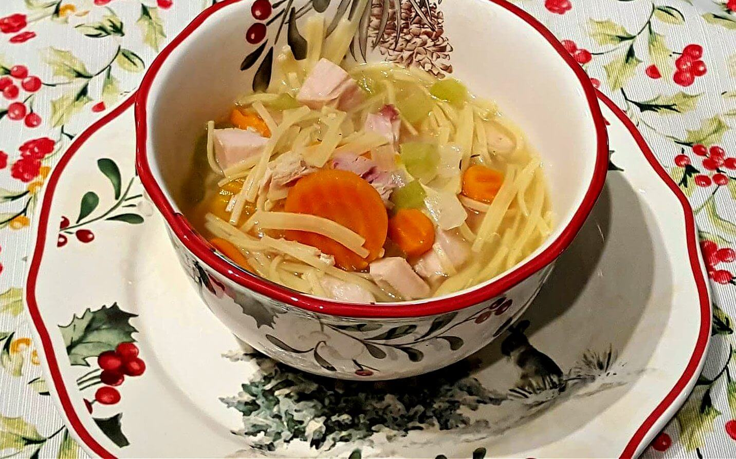 Turkey Noodle Soup in a bowl