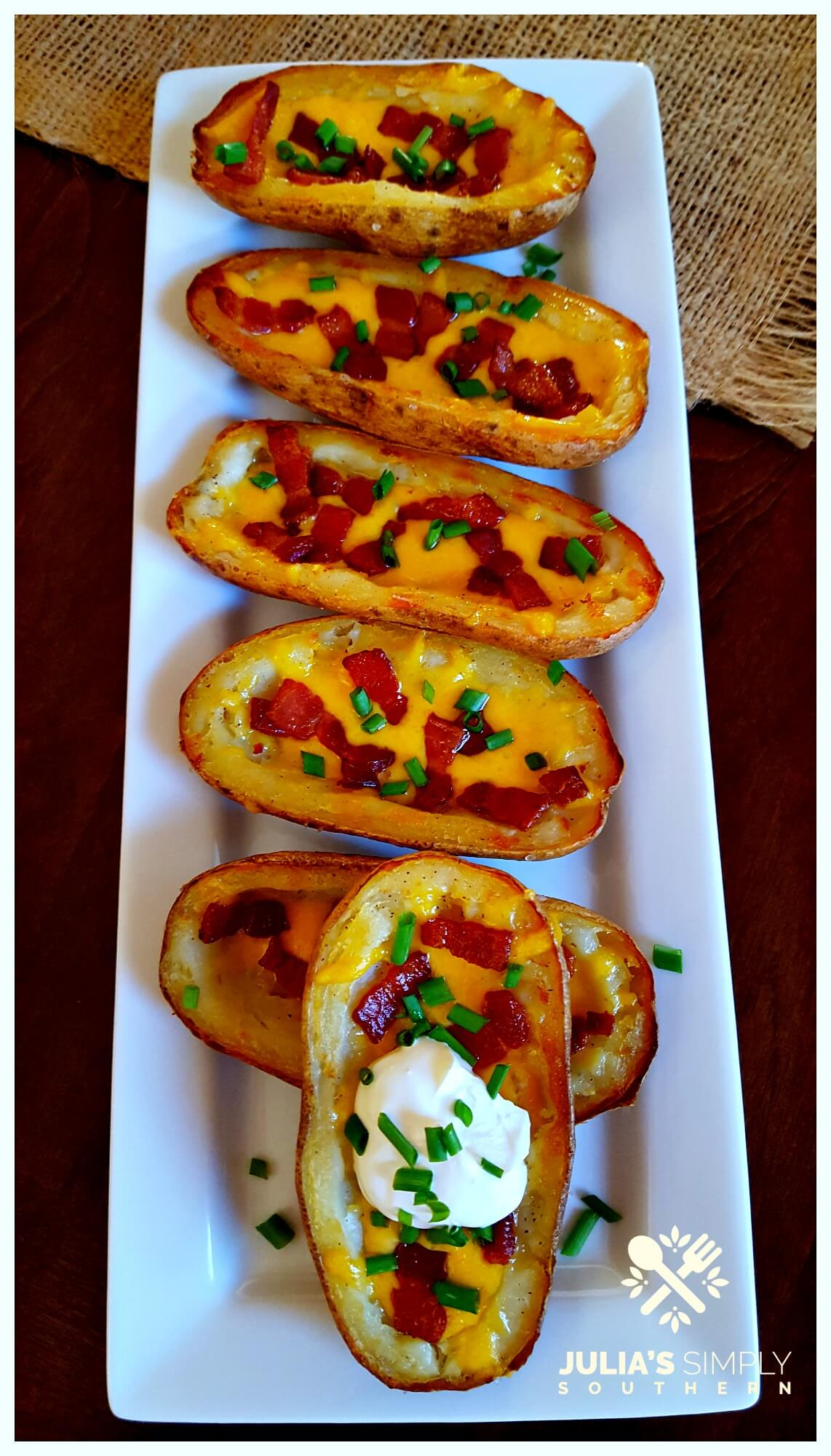 Twice Baked Potato Skins that are crispy and delicious